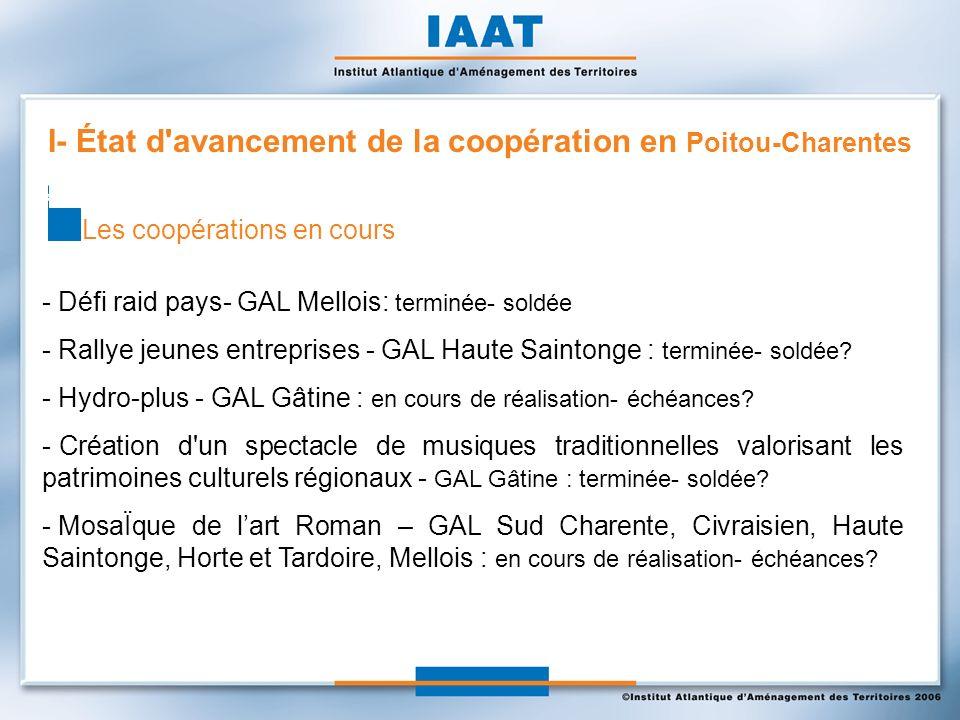 - Défi raid pays- GAL Mellois: terminée- soldée - Rallye jeunes entreprises - GAL Haute Saintonge : terminée- soldée.