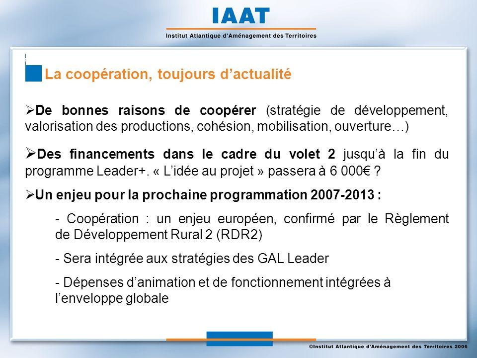 La coopération, toujours dactualité De bonnes raisons de coopérer (stratégie de développement, valorisation des productions, cohésion, mobilisation, ouverture…) Des financements dans le cadre du volet 2 jusquà la fin du programme Leader+.