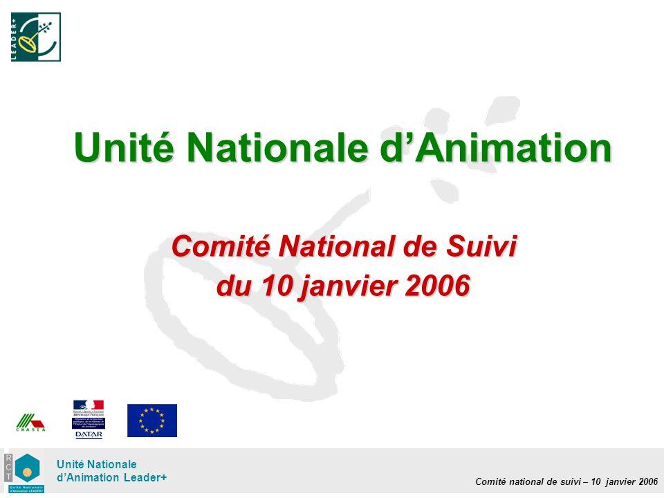 Comité national de suivi – 10 janvier 2006 Unité Nationale dAnimation Leader+ Unité Nationale dAnimation Comité National de Suivi du 10 janvier 2006