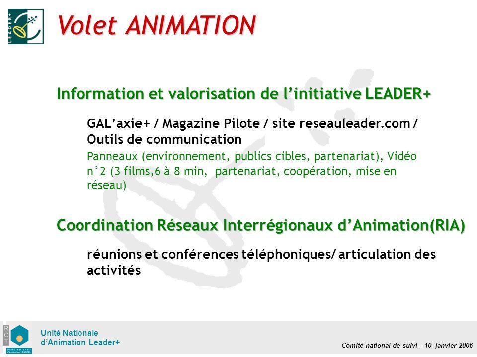 Comité national de suivi – 10 janvier 2006 Unité Nationale dAnimation Leader+ Volet ANIMATION GALaxie+ / Magazine Pilote / site reseauleader.com / Out