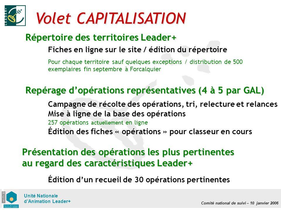 Comité national de suivi – 10 janvier 2006 Unité Nationale dAnimation Leader+ Volet CAPITALISATION Répertoire des territoires Leader+ Fiches en ligne