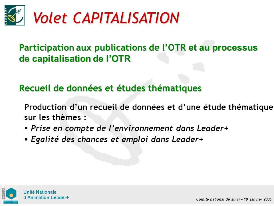 Comité national de suivi – 10 janvier 2006 Unité Nationale dAnimation Leader+ Volet CAPITALISATION Participation aux publications de lOTR et au proces