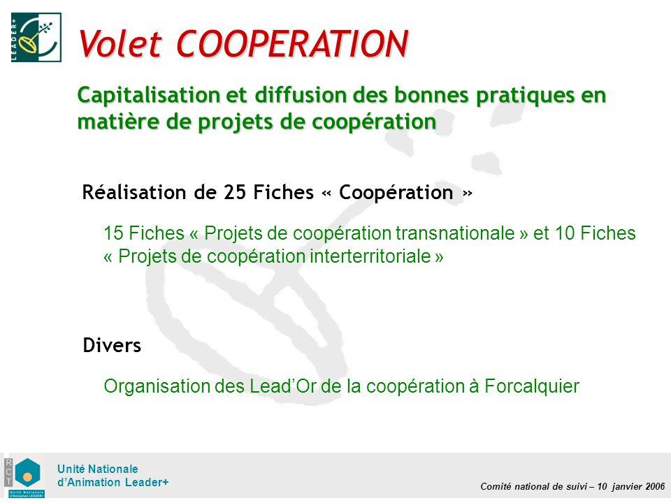 Comité national de suivi – 10 janvier 2006 Unité Nationale dAnimation Leader+ Volet COOPERATION Capitalisation et diffusion des bonnes pratiques en ma