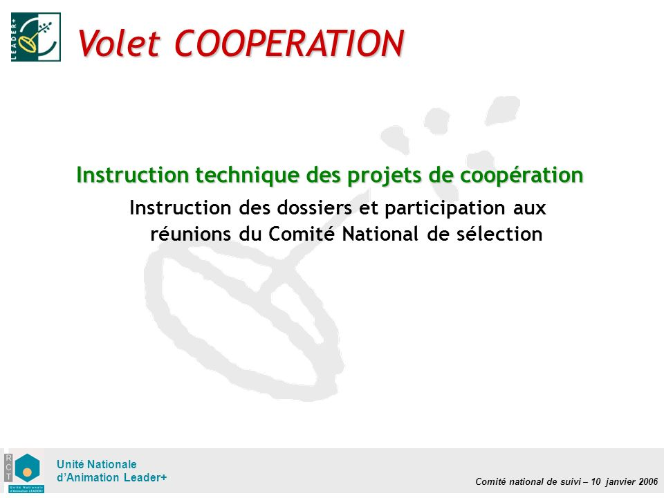 Comité national de suivi – 10 janvier 2006 Unité Nationale dAnimation Leader+ Volet COOPERATION Instruction technique des projets de coopération Instruction des dossiers et participation aux réunions du Comité National de sélection