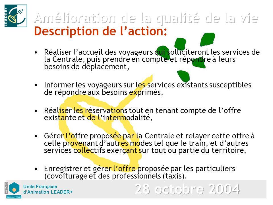 Unité Française dAnimation LEADER+ Description de laction: Réaliser laccueil des voyageurs qui solliciteront les services de la Centrale, puis prendre