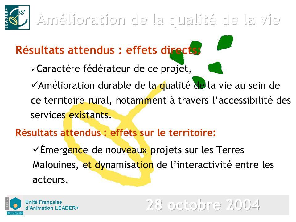 Unité Française dAnimation LEADER+ Résultats attendus : effets sur le territoire: Émergence de nouveaux projets sur les Terres Malouines, et dynamisat