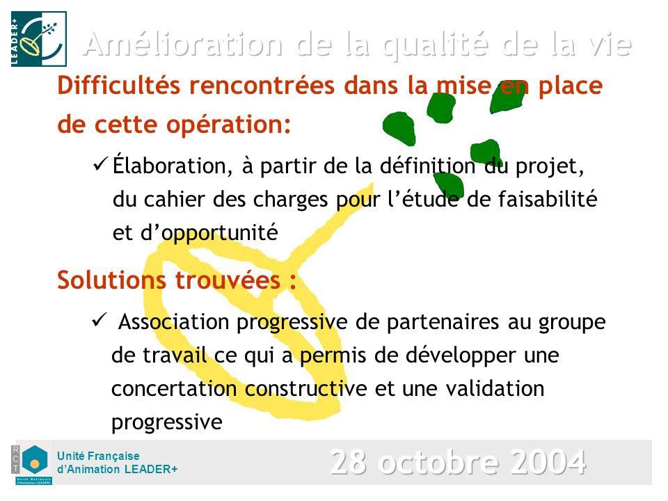 Unité Française dAnimation LEADER+ Solutions trouvées : Association progressive de partenaires au groupe de travail ce qui a permis de développer une
