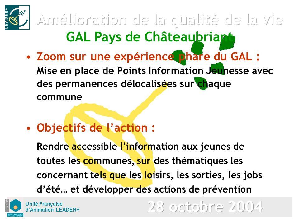 Unité Française dAnimation LEADER+ Zoom sur une expérience phare du GAL : Mise en place de Points Information Jeunesse avec des permanences délocalisé