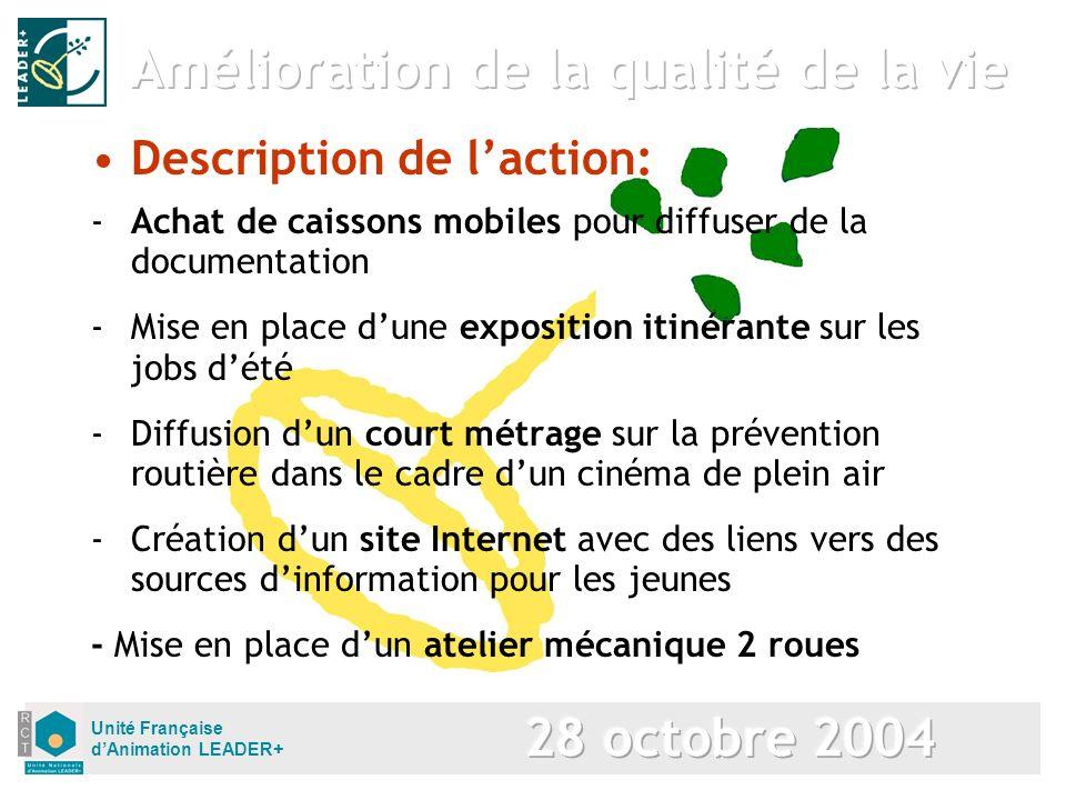 Unité Française dAnimation LEADER+ Description de laction: -Achat de caissons mobiles pour diffuser de la documentation -Mise en place dune exposition
