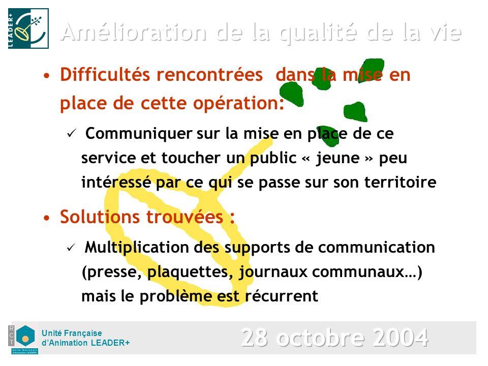 Unité Française dAnimation LEADER+ Solutions trouvées : Multiplication des supports de communication (presse, plaquettes, journaux communaux…) mais le