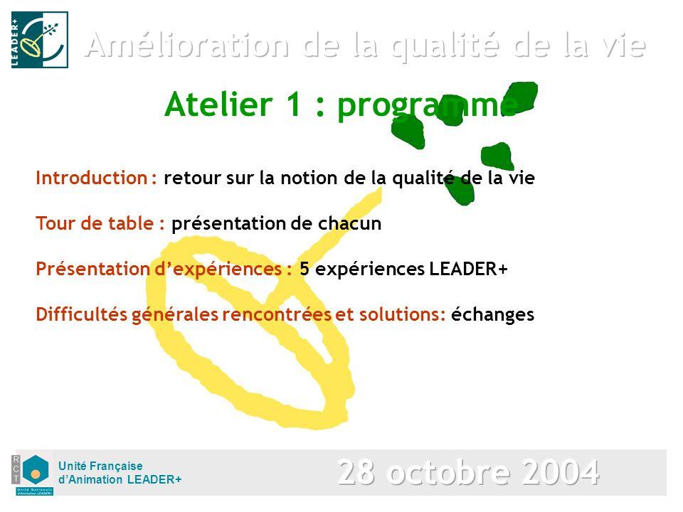 Unité Française dAnimation LEADER+ Introduction : retour sur la notion de la qualité de la vie Atelier 1 : programme Tour de table : présentation de c
