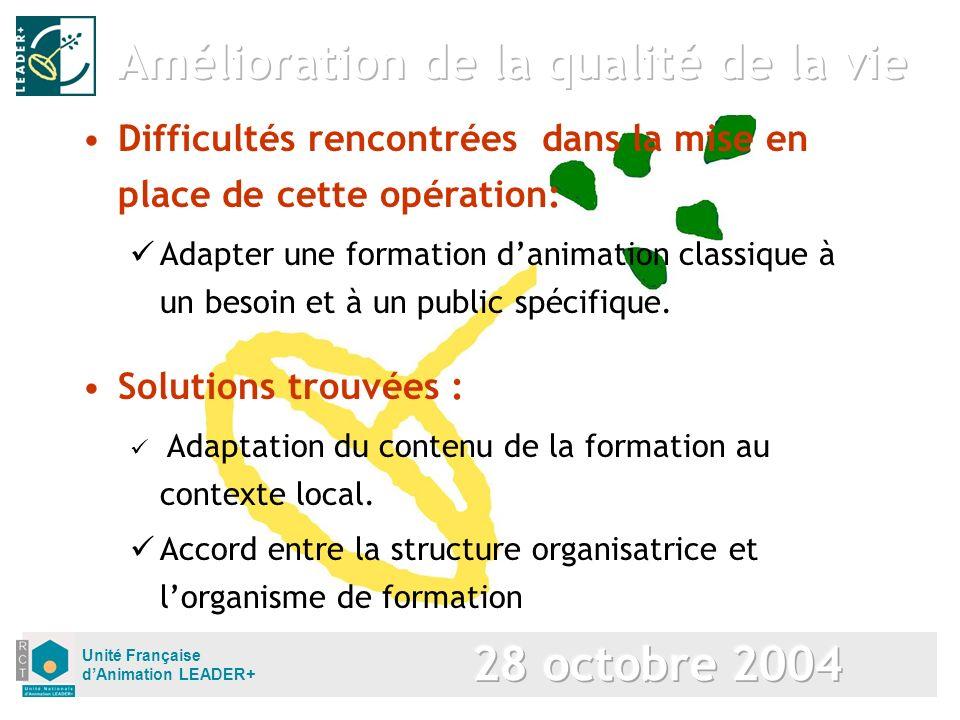 Unité Française dAnimation LEADER+ Solutions trouvées : Adaptation du contenu de la formation au contexte local. Accord entre la structure organisatri