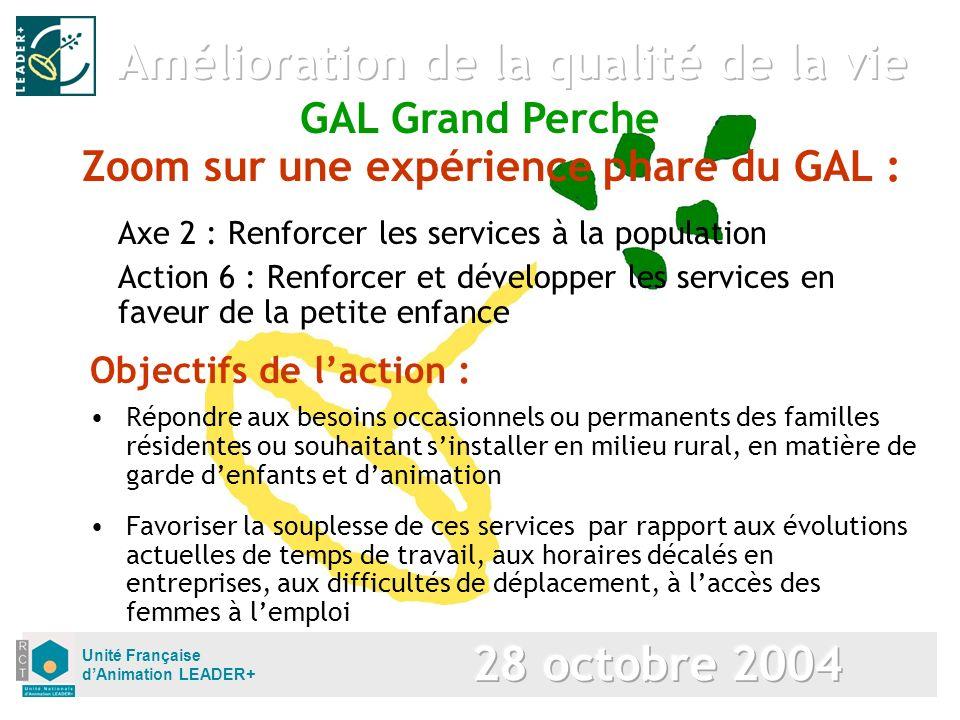 Unité Française dAnimation LEADER+ Zoom sur une expérience phare du GAL : Axe 2 : Renforcer les services à la population Action 6 : Renforcer et dével