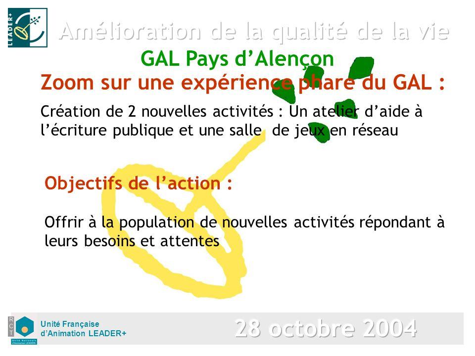 Unité Française dAnimation LEADER+ Zoom sur une expérience phare du GAL : Création de 2 nouvelles activités : Un atelier daide à lécriture publique et