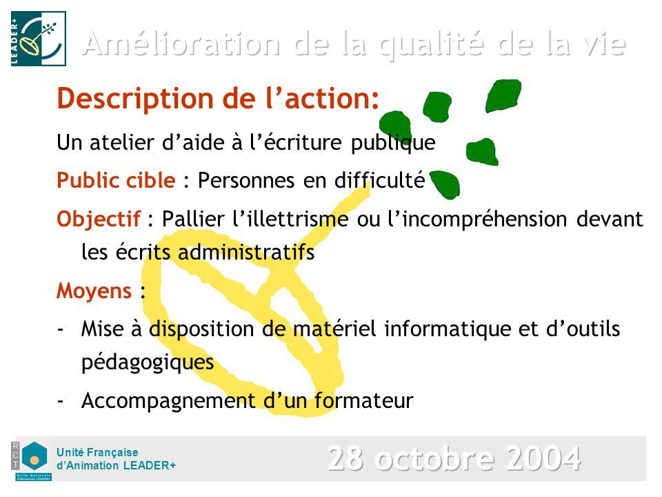 Unité Française dAnimation LEADER+ Description de laction: Un atelier daide à lécriture publique Public cible : Personnes en difficulté Objectif : Pal