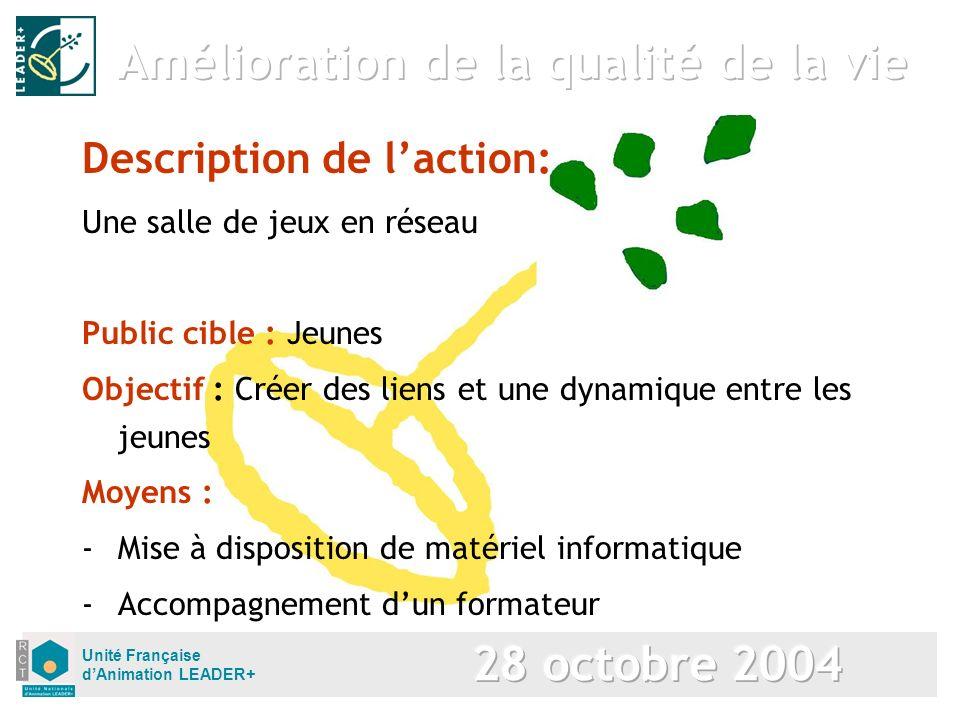 Unité Française dAnimation LEADER+ Description de laction: Une salle de jeux en réseau Public cible : Jeunes Objectif : Créer des liens et une dynamiq