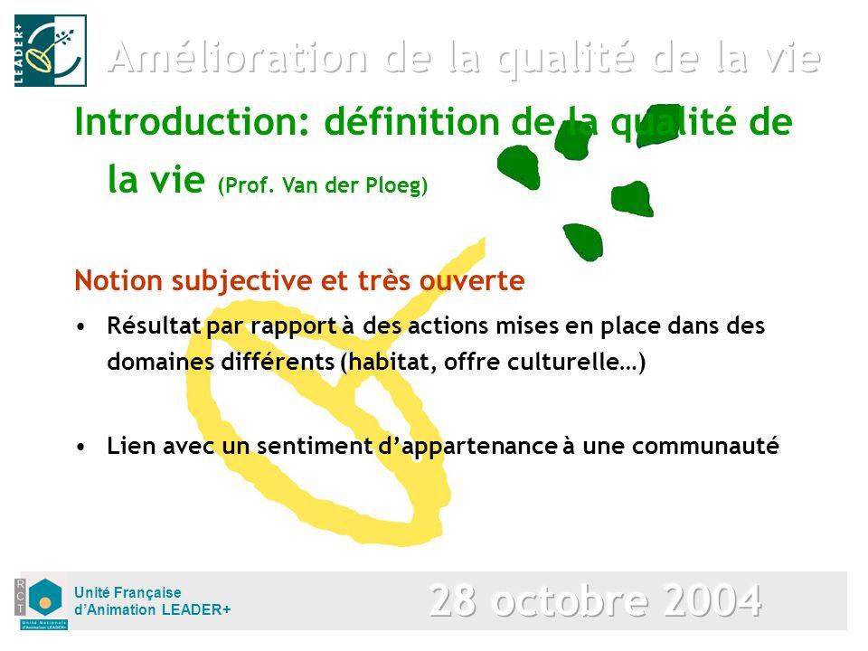 Unité Française dAnimation LEADER+ Notion subjective et très ouverte Résultat par rapport à des actions mises en place dans des domaines différents (h