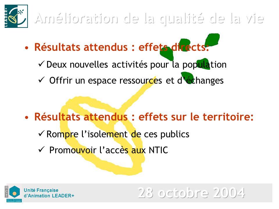 Unité Française dAnimation LEADER+ Résultats attendus : effets sur le territoire: Rompre lisolement de ces publics Promouvoir laccès aux NTIC Résultat