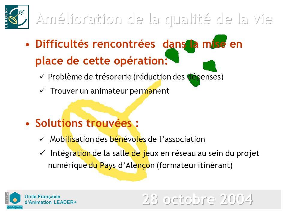 Unité Française dAnimation LEADER+ Solutions trouvées : Mobilisation des bénévoles de lassociation Intégration de la salle de jeux en réseau au sein d