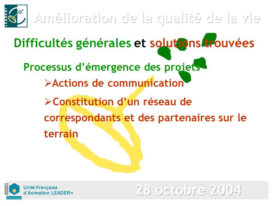 Unité Française dAnimation LEADER+ Processus démergence des projets Difficultés générales et solutions trouvées Actions de communication Constitution