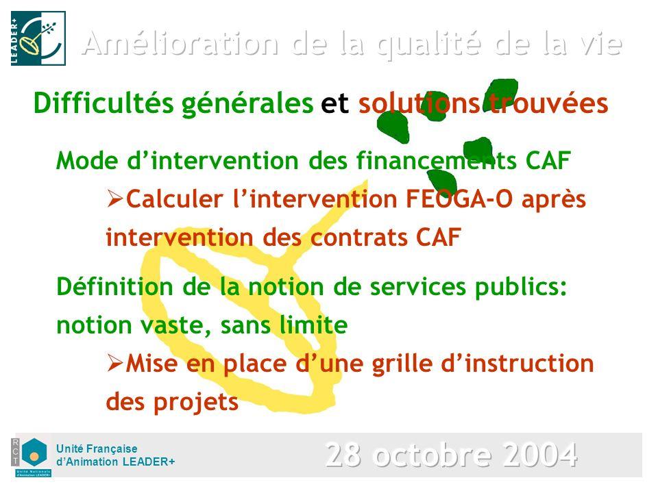 Unité Française dAnimation LEADER+ Mode dintervention des financements CAF Difficultés générales et solutions trouvées Calculer lintervention FEOGA-O