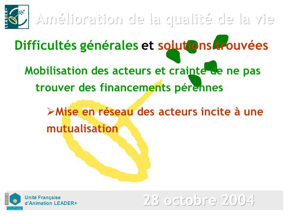 Unité Française dAnimation LEADER+ Mobilisation des acteurs et crainte de ne pas trouver des financements pérennes Difficultés générales et solutions trouvées Mise en réseau des acteurs incite à une mutualisation