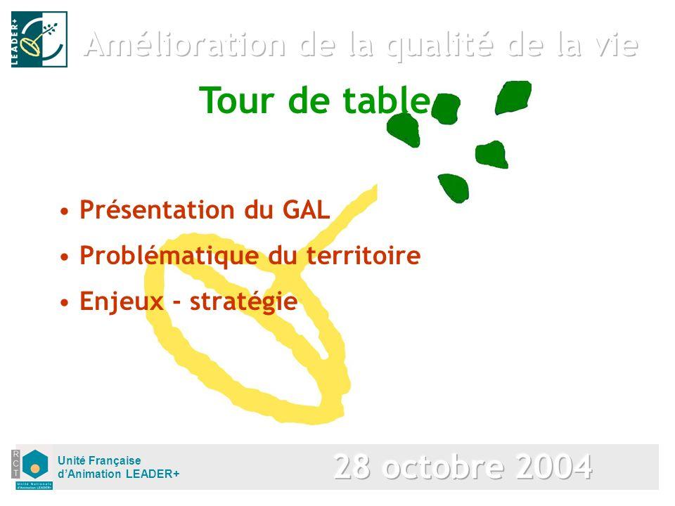 Unité Française dAnimation LEADER+ Présentation du GAL Problématique du territoire Enjeux - stratégie Tour de table