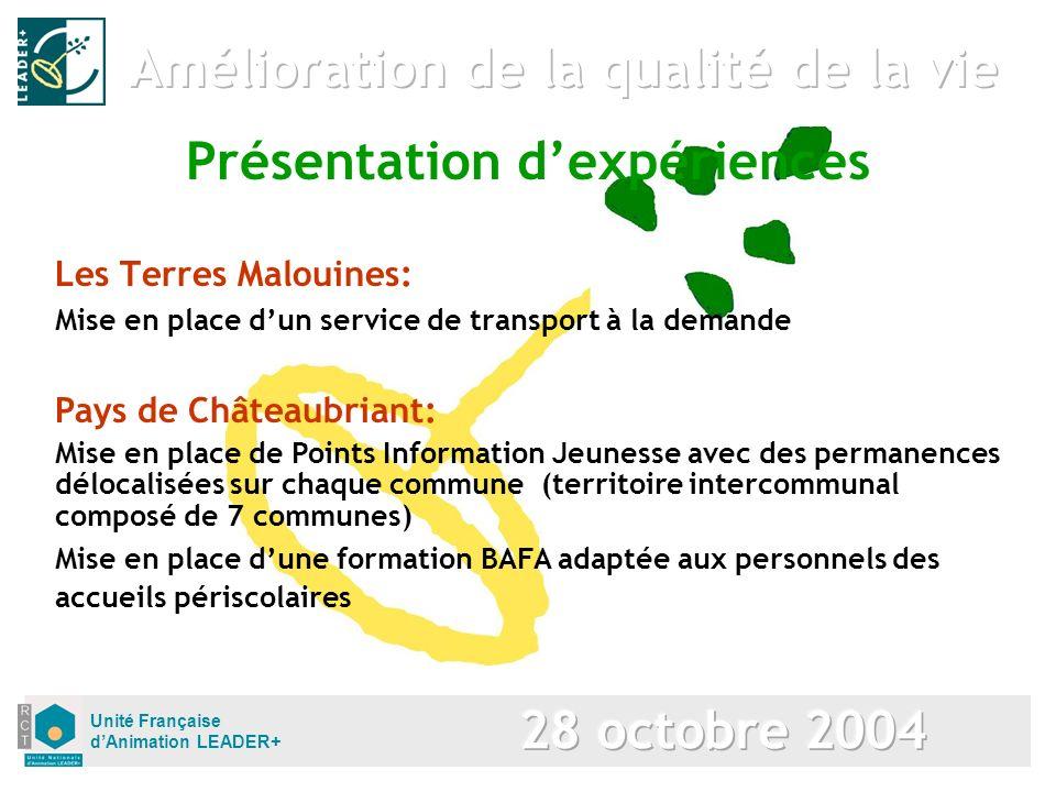 Unité Française dAnimation LEADER+ Les Terres Malouines: Mise en place dun service de transport à la demande Présentation dexpériences Pays de Château
