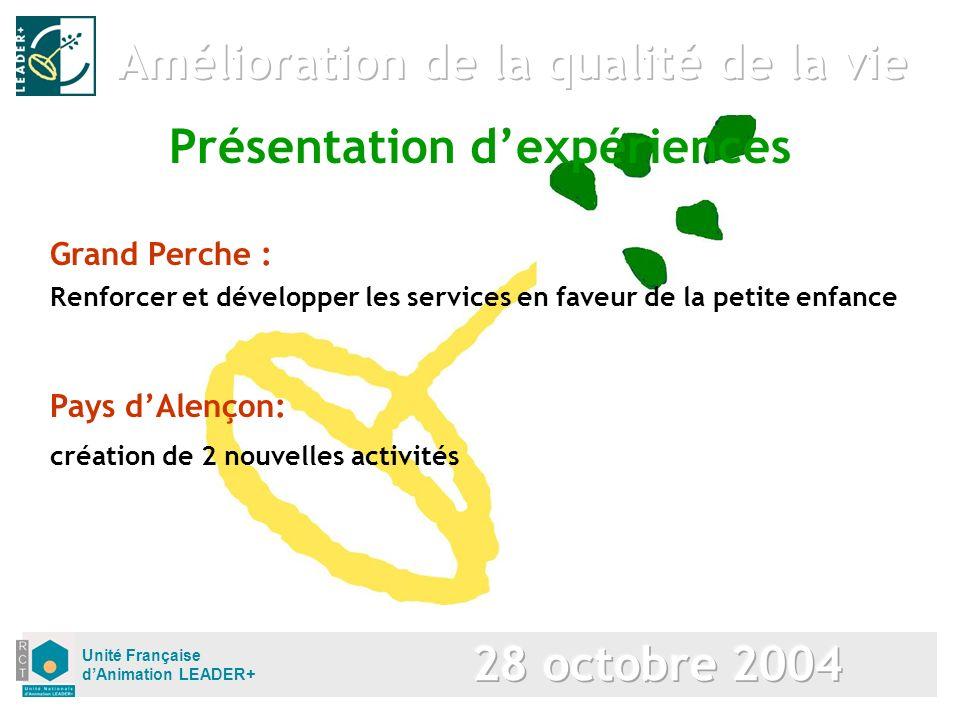 Unité Française dAnimation LEADER+ Présentation dexpériences Grand Perche : Renforcer et développer les services en faveur de la petite enfance Pays dAlençon: création de 2 nouvelles activités