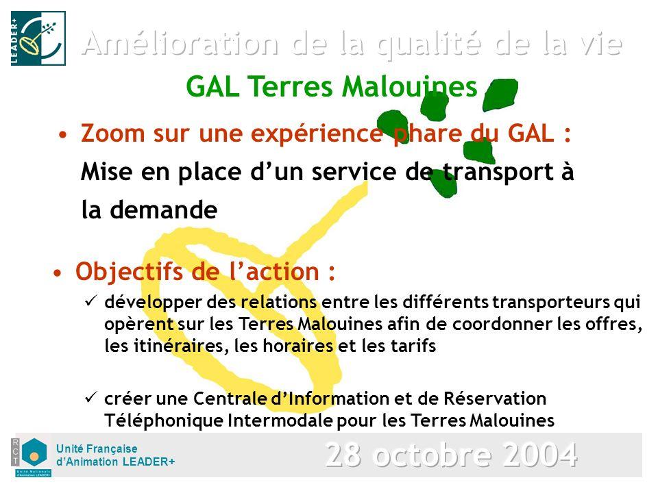 Unité Française dAnimation LEADER+ Zoom sur une expérience phare du GAL : Mise en place dun service de transport à la demande Objectifs de laction : d