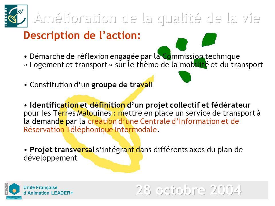 Unité Française dAnimation LEADER+ Description de laction: Démarche de réflexion engagée par la Commission technique « Logement et transport » sur le