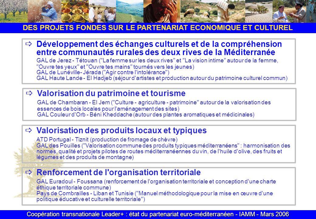 Coopération transnationale Leader+ : état du partenariat euro-méditerranéen - IAMM - Mars 2006 DES PROJETS FONDES SUR LE PARTENARIAT ECONOMIQUE ET CULTUREL Développement des échanges culturels et de la compréhension entre communautés rurales des deux rives de la Méditerranée GAL de Jerez - Tétouan ( La femme sur les deux rives et La vision intime autour de la femme, Ouvre tes yeux et Ouvre tes mains tournés vers les jeunes) GAL de Lunéville- Jérada ( Agir contre l intolérance ) GAL Haute Lande - El Hadjeb (séjour d artistes et production autour du patrimoine culturel commun) Valorisation du patrimoine et tourisme GAL de Chambaran - El Jem ( Culture - agriculture - patrimoine autour de la valorisation des essences de bois locales pour l aménagement des sites) GAL Couleur d Orb - Béni Kheddache (autour des plantes aromatiques et médicinales) Valorisation des produits locaux et typiques ATD Portugal - Tiznit (production de fromage de chèvre) GAL des Pouilles ( Valorisation commune des produits typiques méditerranéens : harmonisation des normes, qualité et projets pilotes de routes méditerranéennes du vin, de l huile d olive, des fruits et légumes et des produits de montagne) Renforcement de l organisation territoriale GAL Euradoul - Foussana (renforcement de l organisation territoriale et conception d une charte éthique territoriale commune) Pays de Combrailles - Liban et Tunisie ( Manuel méthodologique pour la mise en œuvre d une politique éducative et culturelle territoriale )