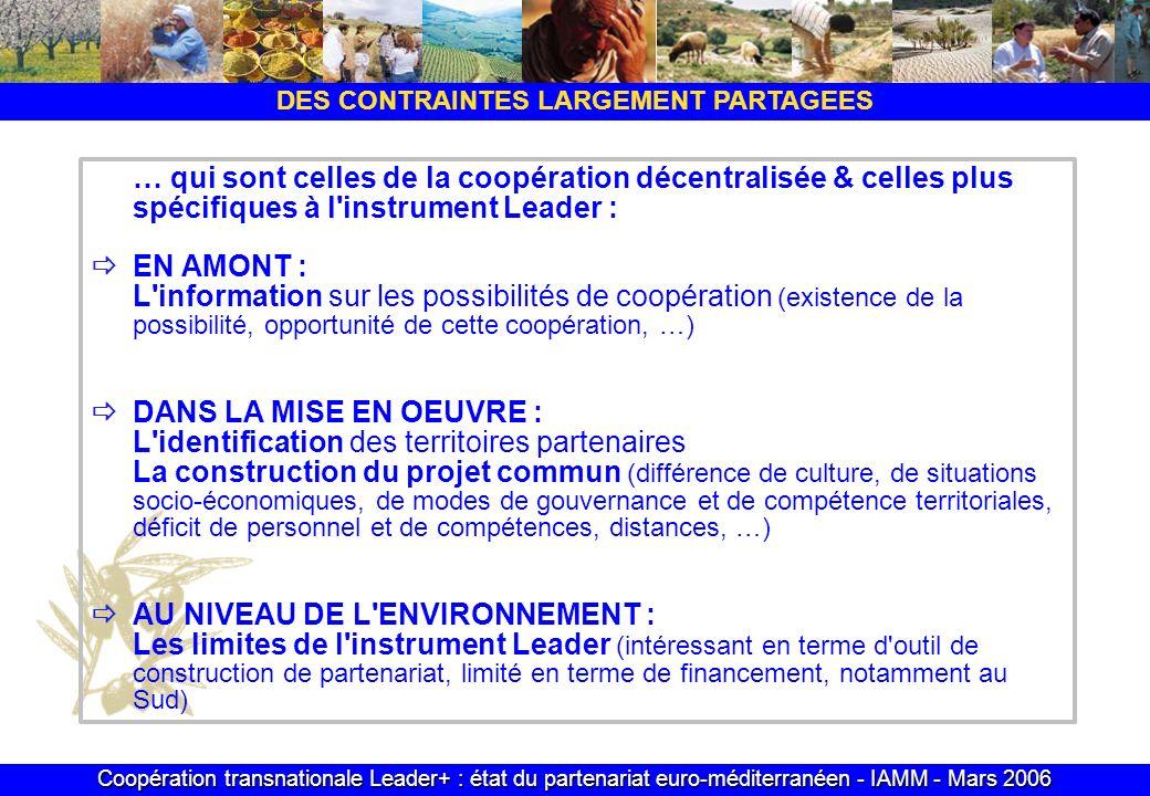 Coopération transnationale Leader+ : état du partenariat euro-méditerranéen - IAMM - Mars 2006 DES CONTRAINTES LARGEMENT PARTAGEES … qui sont celles d