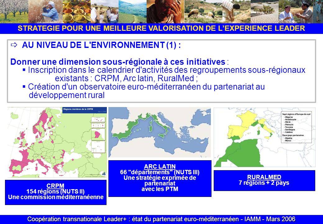 Coopération transnationale Leader+ : état du partenariat euro-méditerranéen - IAMM - Mars 2006 STRATEGIE POUR UNE MEILLEURE VALORISATION DE LEXPERIENCE LEADER AU NIVEAU DE L ENVIRONNEMENT (1) : Donner une dimension sous-régionale à ces initiatives : Inscription dans le calendrier d activités des regroupements sous-régionaux existants : CRPM, Arc latin, RuralMed ; Création d un observatoire euro-méditerranéen du partenariat au développement rural CRPM 154 régions (NUTS II) Une commission méditerranéenne ARC LATIN 66 départements (NUTS III) Une stratégie exprimée de partenariat avec les PTM RURALMED 7 régions + 2 pays