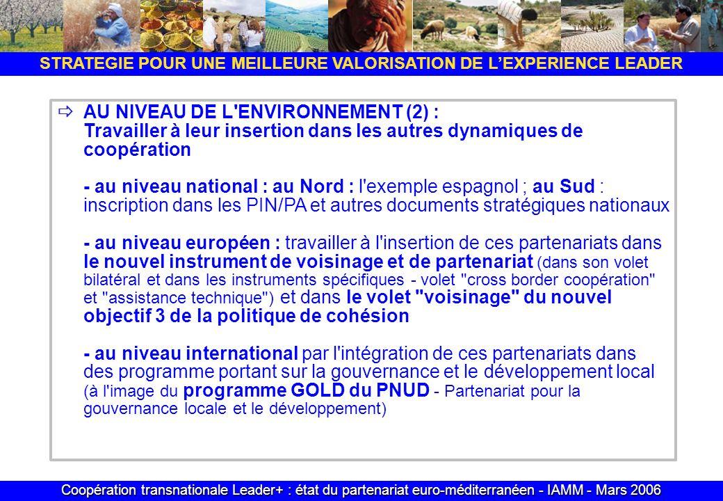Coopération transnationale Leader+ : état du partenariat euro-méditerranéen - IAMM - Mars 2006 STRATEGIE POUR UNE MEILLEURE VALORISATION DE LEXPERIENCE LEADER AU NIVEAU DE L ENVIRONNEMENT (2) : Travailler à leur insertion dans les autres dynamiques de coopération - au niveau national : au Nord : l exemple espagnol ; au Sud : inscription dans les PIN/PA et autres documents stratégiques nationaux - au niveau européen : travailler à l insertion de ces partenariats dans le nouvel instrument de voisinage et de partenariat (dans son volet bilatéral et dans les instruments spécifiques - volet cross border coopération et assistance technique ) et dans le volet voisinage du nouvel objectif 3 de la politique de cohésion - au niveau international par l intégration de ces partenariats dans des programme portant sur la gouvernance et le développement local (à l image du programme GOLD du PNUD - Partenariat pour la gouvernance locale et le développement)