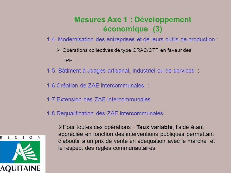 1-4 Modernisation des entreprises et de leurs outils de production : Opérations collectives de type ORAC/OTT en faveur des TPE 1-5 Bâtiment à usages a