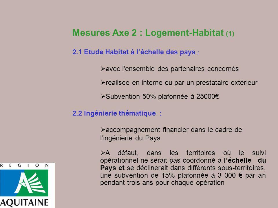 Mesures Axe 2 : Logement-Habitat (1) 2.1 Etude Habitat à léchelle des pays : avec lensemble des partenaires concernés réalisée en interne ou par un pr