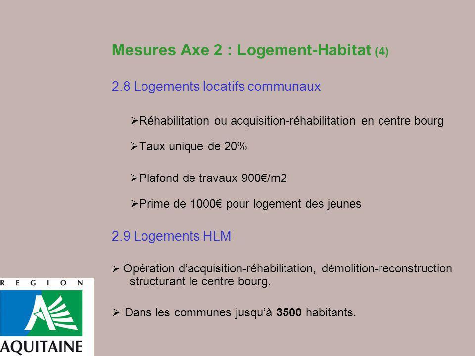 Mesures Axe 2 : Logement-Habitat (4) 2.8 Logements locatifs communaux Réhabilitation ou acquisition-réhabilitation en centre bourg Taux unique de 20%