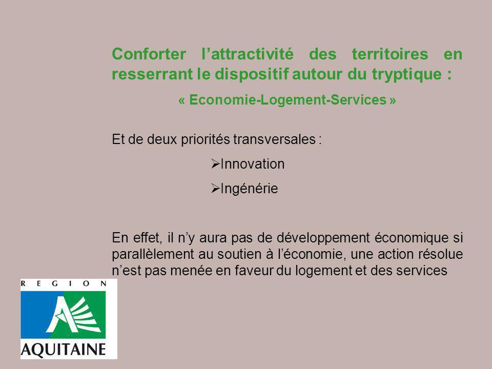 Conforter lattractivité des territoires en resserrant le dispositif autour du tryptique : « Economie-Logement-Services » Et de deux priorités transver