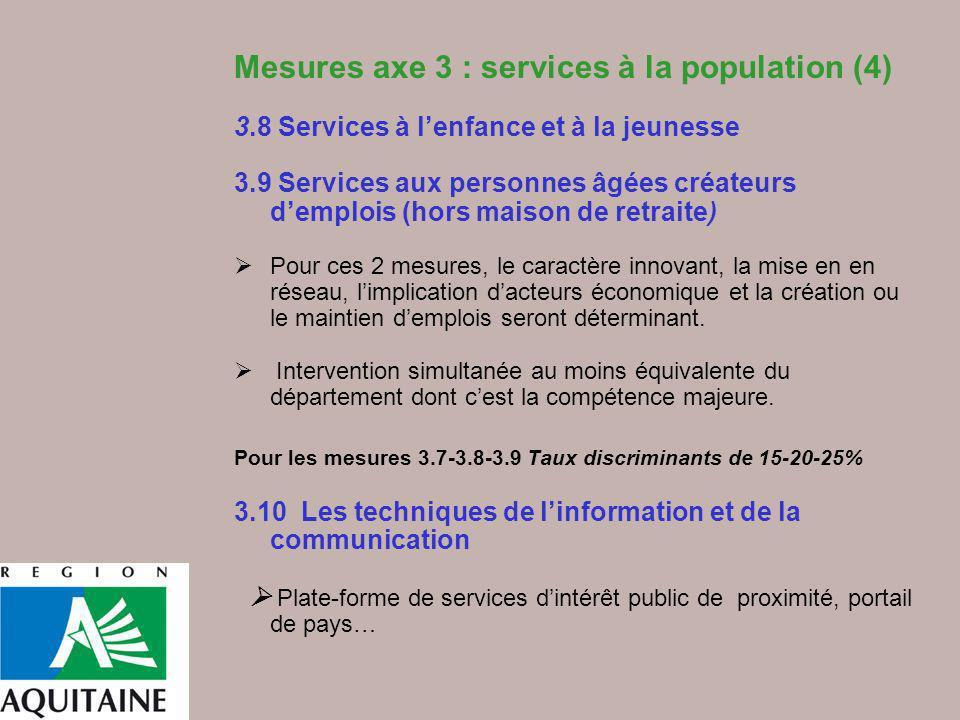 Mesures axe 3 : services à la population (4) 3.8 Services à lenfance et à la jeunesse 3.9 Services aux personnes âgées créateurs demplois (hors maison