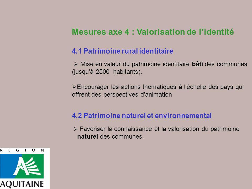 Mesures axe 4 : Valorisation de lidentité 4.1 Patrimoine rural identitaire Mise en valeur du patrimoine identitaire bâti des communes (jusquà 2500 hab