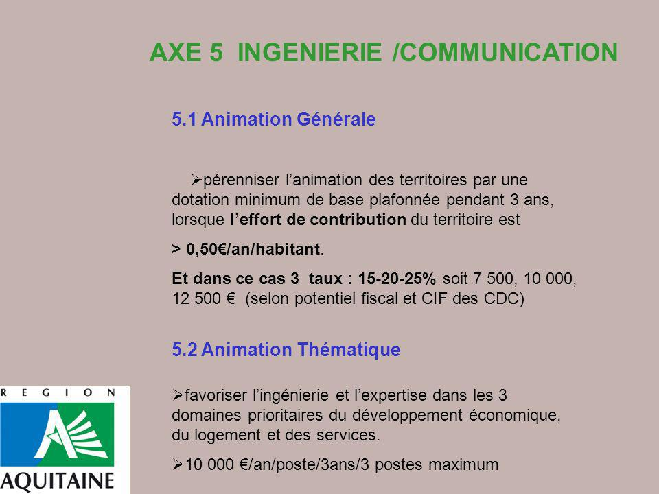 AXE 5 INGENIERIE /COMMUNICATION 5.1 Animation Générale pérenniser lanimation des territoires par une dotation minimum de base plafonnée pendant 3 ans,