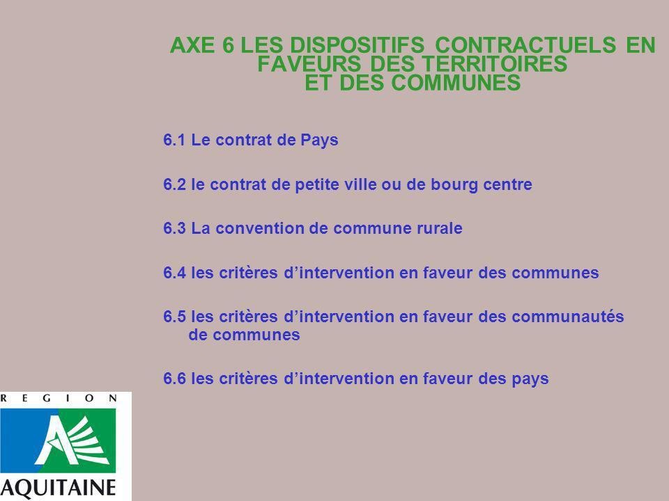 AXE 6 LES DISPOSITIFS CONTRACTUELS EN FAVEURS DES TERRITOIRES ET DES COMMUNES 6.1 Le contrat de Pays 6.2 le contrat de petite ville ou de bourg centre