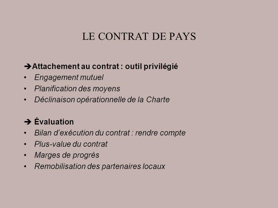 LE CONTRAT DE PAYS Attachement au contrat : outil privilégié Engagement mutuel Planification des moyens Déclinaison opérationnelle de la Charte Évalua