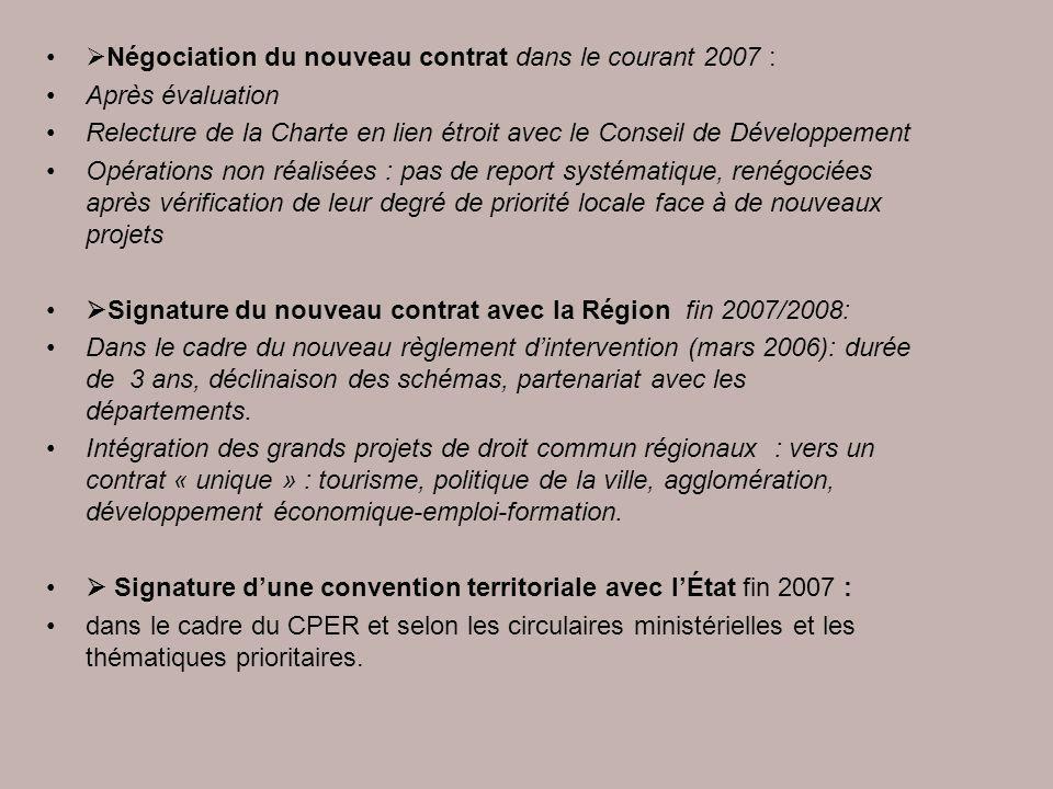 Négociation du nouveau contrat dans le courant 2007 : Après évaluation Relecture de la Charte en lien étroit avec le Conseil de Développement Opératio