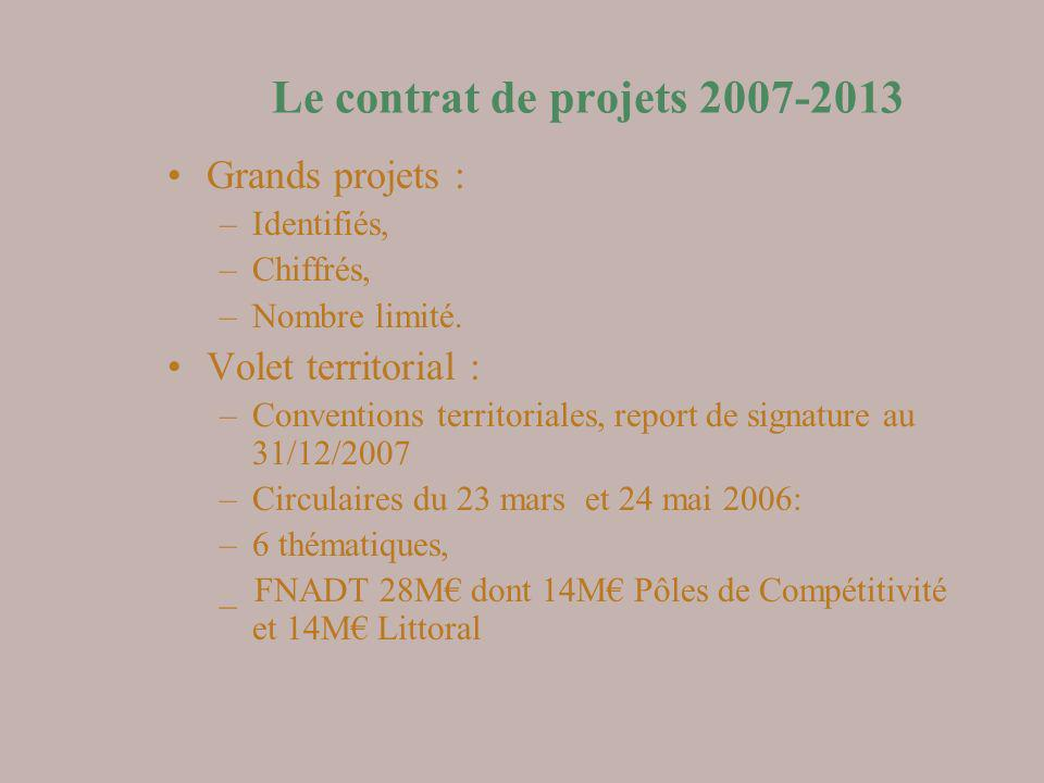 Le contrat de projets 2007-2013 Grands projets : –Identifiés, –Chiffrés, –Nombre limité. Volet territorial : –Conventions territoriales, report de sig