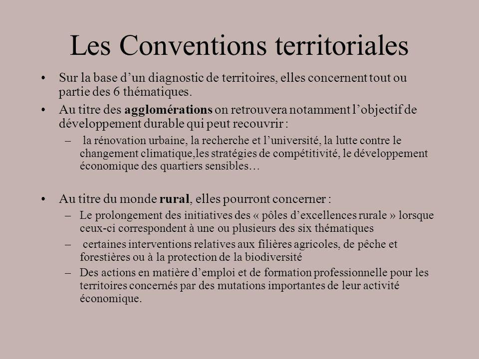 Les Conventions territoriales Sur la base dun diagnostic de territoires, elles concernent tout ou partie des 6 thématiques. Au titre des agglomération