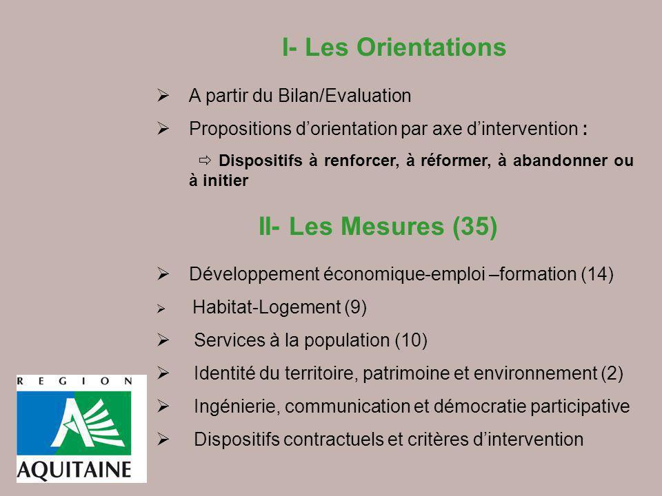 I- Les Orientations A partir du Bilan/Evaluation Propositions dorientation par axe dintervention : Dispositifs à renforcer, à réformer, à abandonner o