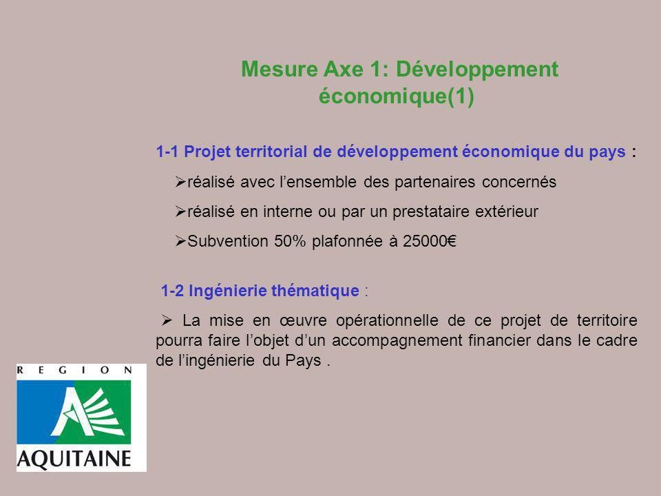 Mesure Axe 1: Développement économique(1) 1-1 Projet territorial de développement économique du pays : réalisé avec lensemble des partenaires concerné