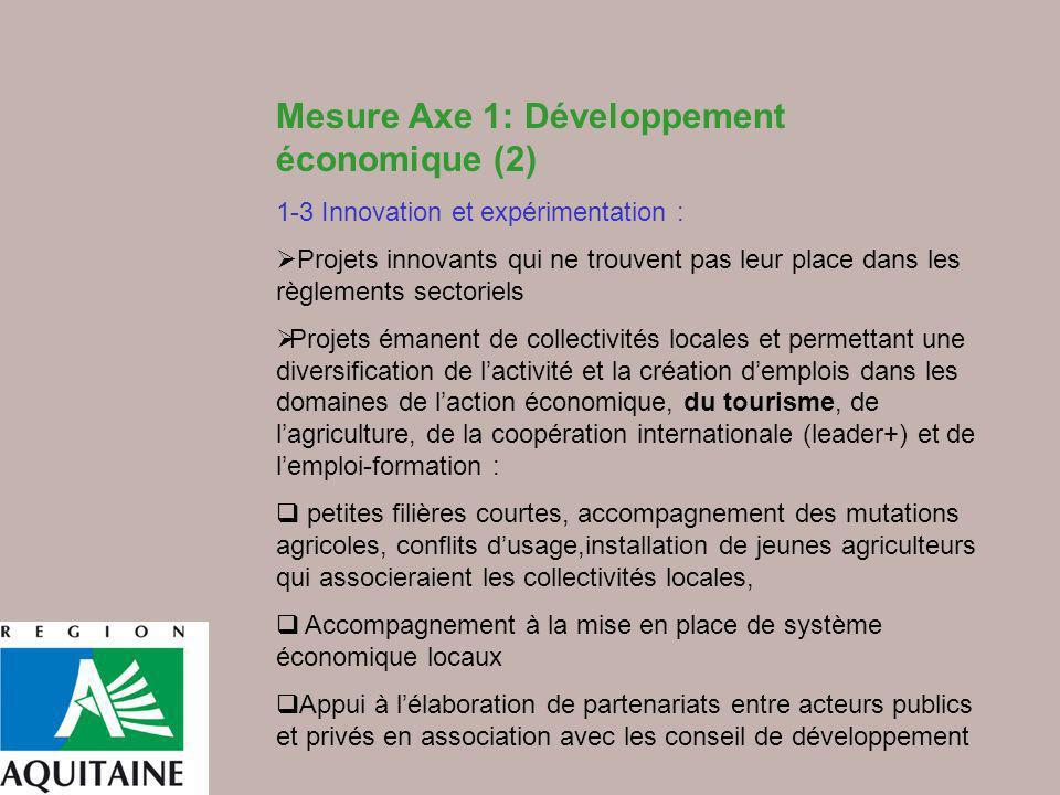Mesure Axe 1: Développement économique (2) 1-3 Innovation et expérimentation : Projets innovants qui ne trouvent pas leur place dans les règlements se